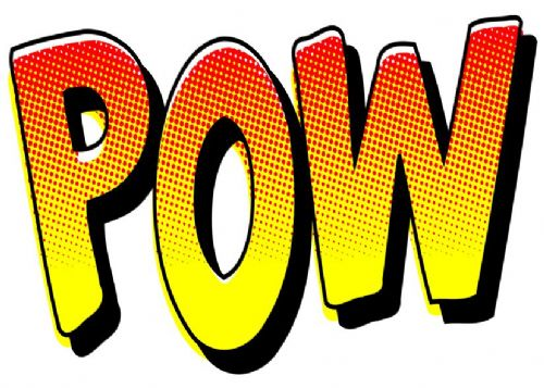 ART - POP ART - POW WHITE canvas print - self adhesive poster - photo print
